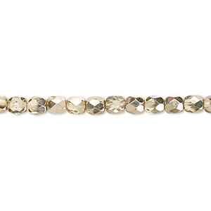 bead, czech fire-polished glass, metallic pale gold, 4mm faceted round. sold per pkg of 1,200 (1 mass).