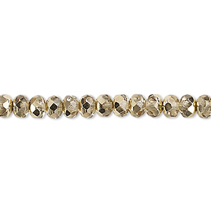 bead, czech fire-polished glass, metallic pale gold, 5x4mm faceted rondelle. sold per pkg of 1,200 (1 mass).