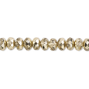 bead, czech fire-polished glass, metallic pale gold, 7x5mm faceted rondelle. sold per pkg of 600 (1/2 mass).