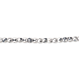 bead, czech fire-polished glass, metallic silver, 3mm faceted round. sold per pkg of 1,200 (1 mass).