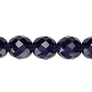bead, czech fire-polished glass, montana blue, 12mm faceted round. sold per 16-inch strand, approximately 35 beads.