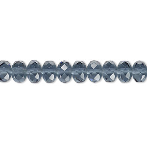 bead, czech fire-polished glass, montana blue, 7x5mm faceted rondelle. sold per 16-inch strand.