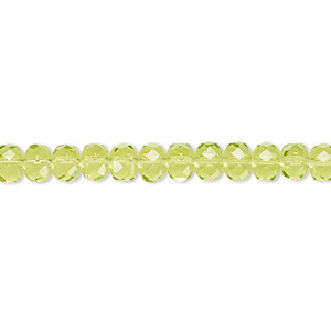bead, czech fire-polished glass, olivine, 5x4mm faceted rondelle. sold per 16-inch strand.