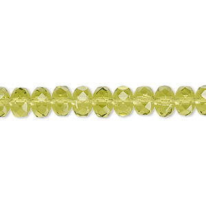 bead, czech fire-polished glass, olivine, 7x5mm faceted rondelle. sold per 16-inch strand.