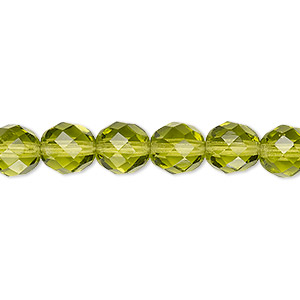 bead, czech fire-polished glass, olivine, 8mm faceted round. sold per pkg of 600 (1/2 mass).