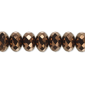 bead, czech fire-polished glass, opaque bronze, 11x7mm faceted rondelle. sold per 16-inch strand.
