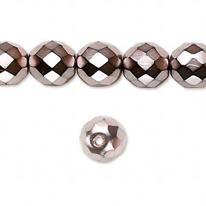 bead, czech fire-polished glass, opaque copper carmen, 10mm faceted round. sold per 16-inch strand.