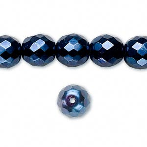 bead, czech fire-polished glass, opaque dark blue carmen, 10mm faceted round. sold per 16-inch strand.