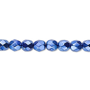 bead, czech fire-polished glass, opaque dark blue carmen, 6mm faceted round. sold per 16-inch strand.