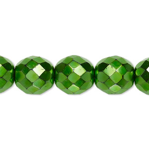 bead, czech fire-polished glass, opaque emerald green carmen, 12mm faceted round. sold per 16-inch strand.
