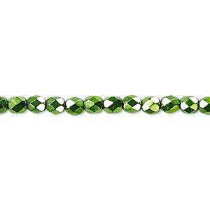 bead, czech fire-polished glass, opaque emerald green carmen, 4mm faceted round. sold per 16-inch strand.