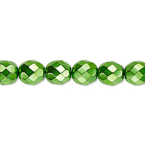 bead, czech fire-polished glass, opaque emerald green carmen, 8mm faceted round. sold per 16-inch strand.