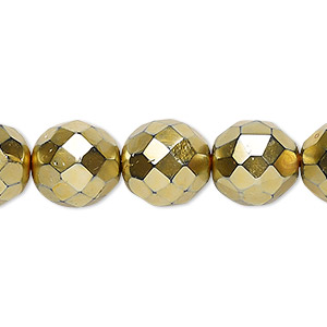 bead czech fire-polished glass, opaque gold, 12mm faceted round. sold per 16-inch strand.