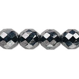 bead, czech fire-polished glass, opaque hematite, 12mm faceted round. sold per 16-inch strand, approximately 35 beads.