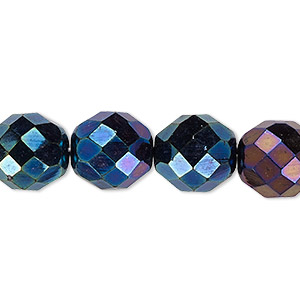 bead, czech fire-polished glass, opaque iris blue, 12mm faceted round. sold per 16-inch strand.