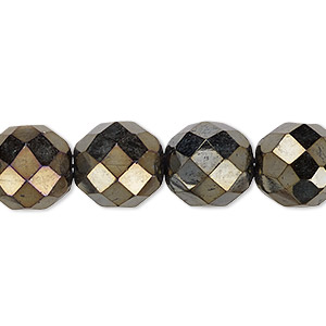 bead, czech fire-polished glass, opaque iris brown, 12mm faceted round. sold per 16-inch strand.