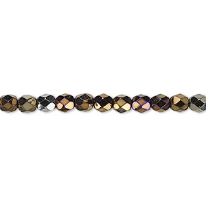 bead, czech fire-polished glass, opaque iris brown, 4mm faceted round. sold per 16-inch strand.