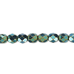 bead, czech fire-polished glass, opaque iris green, 6mm faceted round. sold per pkg of 1,200 (1 mass).