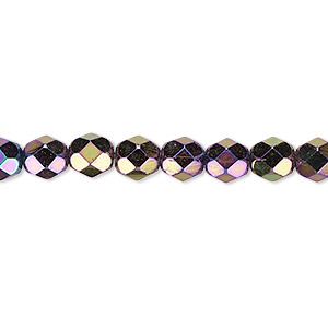 bead, czech fire-polished glass, opaque iris purple, 6mm faceted round. sold per pkg of 1,200 (1 mass).