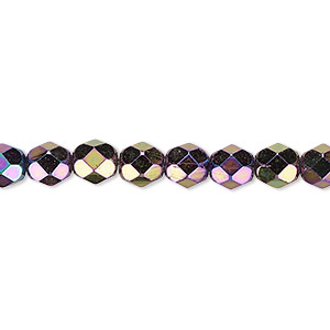 bead, czech fire-polished glass, opaque iris purple, 6mm faceted round. sold per 16-inch strand.