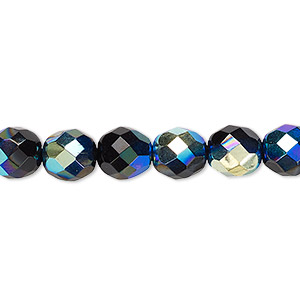 bead, czech fire-polished glass, opaque jet ab, 8mm faceted round. sold per 16-inch strand.
