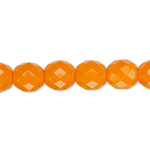 bead, czech fire-polished glass, opaque orange, 10mm faceted round. sold per 16-inch strand, approximately 40 beads.
