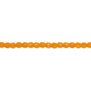 bead, czech fire-polished glass, opaque orange, 3mm faceted round. sold per 16-inch strand, approximately 130 beads.