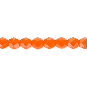 bead, czech fire-polished glass, opaque orange, 6mm faceted round. sold per 16-inch strand, approximately 65 beads.