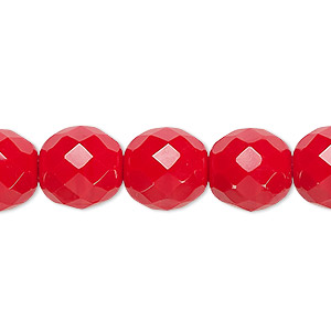 bead, czech fire-polished glass, opaque red, 12mm faceted round. sold per pkg of 600 (1/2 mass).