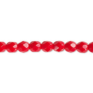 bead, czech fire-polished glass, opaque red, 6mm faceted round. sold per 16-inch strand, approximately 65 beads.