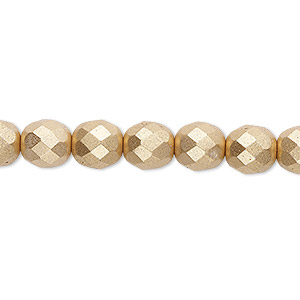 bead, czech fire-polished glass, opaque satin gold, 8mm faceted round. sold per 16-inch strand, approximately 50 beads.