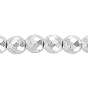 bead, czech fire-polished glass, opaque satin silver, 10mm faceted round. sold per 16-inch strand, approximately 40 beads.