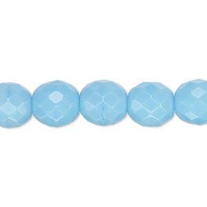 bead, czech fire-polished glass, opaque turquoise blue, 10mm faceted round. sold per 16-inch strand, approximately 40 beads.