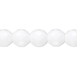 bead, czech fire-polished glass, opaque white, 10mm faceted round. sold per pkg of 600 (1/2 mass).