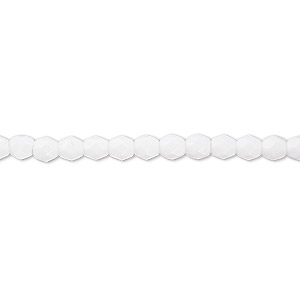 bead, czech fire-polished glass, opaque white, 4mm faceted round. sold per 16-inch strand, approximately 100 beads.