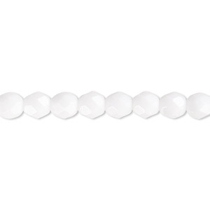bead, czech fire-polished glass, opaque white, 6mm faceted round. sold per pkg of 1,200 (1 mass).