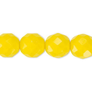bead, czech fire-polished glass, opaque yellow, 12mm faceted round. sold per 16-inch strand, approximately 35 beads.