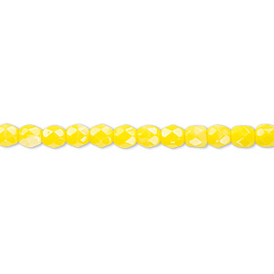 bead, czech fire-polished glass, opaque yellow, 4mm faceted round. sold per 16-inch strand, approximately 100 beads.