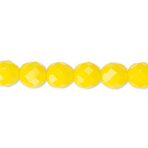 bead, czech fire-polished glass, opaque yellow, 8mm faceted round. sold per 16-inch strand, approximately 50 beads.