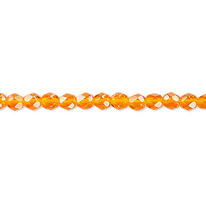 bead, czech fire-polished glass, orange, 4mm faceted round. sold per pkg of 1,200 (1 mass).