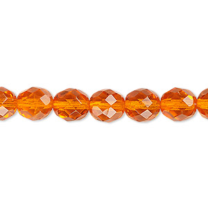 bead, czech fire-polished glass, orange, 8mm faceted round. sold per pkg of 600 (1/2 mass).
