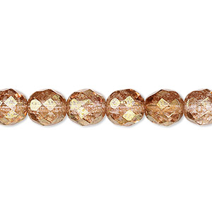 bead, czech fire-polished glass, peach and brown, 8mm faceted round. sold per 16-inch strand, approximately 50 beads.