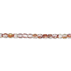 bead, czech fire-polished glass, pink and green luster, 3mm faceted round. sold per 16-inch strand.