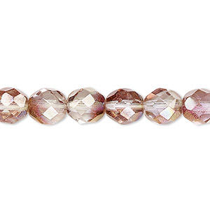 bead, czech fire-polished glass, pink and peach luster, 8mm faceted round. sold per 16-inch strand.