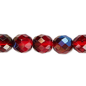 bead, czech fire-polished glass, red blue iris, 10mm faceted round. sold per 16-inch strand.