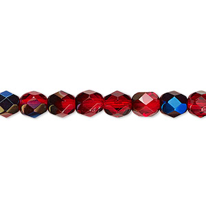 bead, czech fire-polished glass, red blue iris, 6mm faceted round. sold per 16-inch strand.