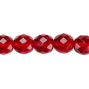bead, czech fire-polished glass, ruby red, 10mm faceted round. sold per pkg of 600 (1/2 mass).