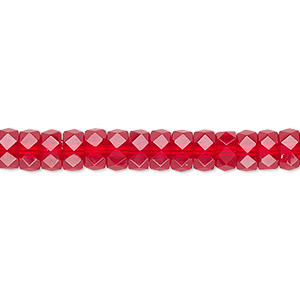 bead, czech fire-polished glass, ruby red, 6x3mm faceted rondelle. sold per 16-inch strand.