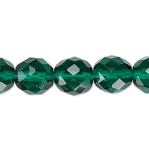 bead, czech fire-polished glass, teal, 12mm faceted round. sold per 16-inch strand, approximately 35 beads.