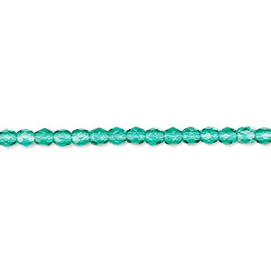 bead, czech fire-polished glass, teal, 3mm faceted round. sold per pkg of 1,200 (1 mass).